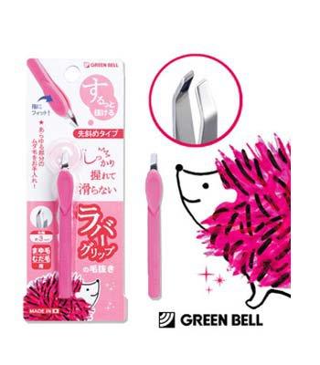 GREEN BELL - 不滑手拔毛夾【斜面】夾頭-紅-1入