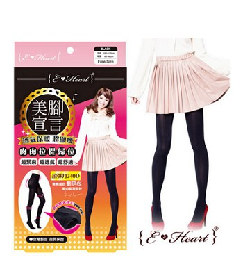 E.Heart - 美腳宣言240D裏起毛顯瘦褲襪- 黑-1入