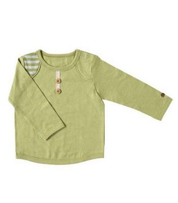 Hoppetta* - 有機棉海軍刺繡長T(綠90cm)-1件