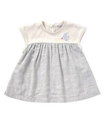 Hoppetta - 雙色幸福侯鳥洋裝(白灰)-80cm-1入