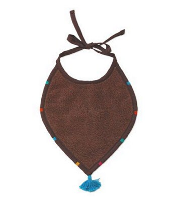 BoBo - 綁帶葉形口水圍兜(咖啡)-1入