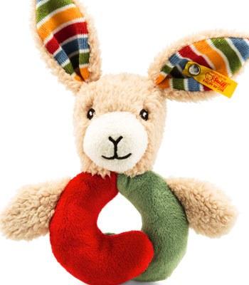 Steiff - 手搖玩偶- 彩紅兔