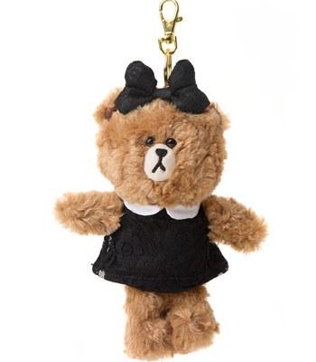 LINE - LINE隨手玩偶吊飾-黑裙熊熊-1入