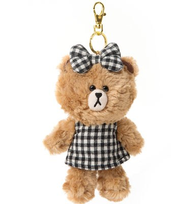 LINE - LINE隨手玩偶吊飾-格子熊熊-1入