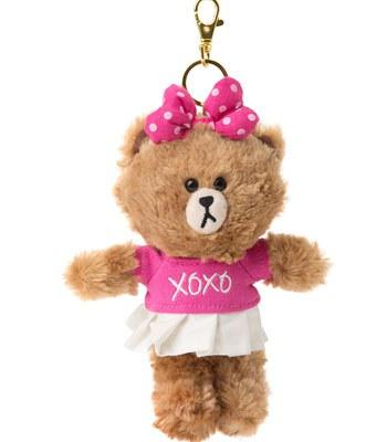 LINE - LINE隨手玩偶吊飾-粉紅熊熊-1入