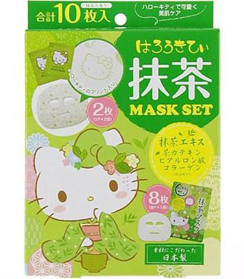 日本馬油相關商品 - LOOKS抹茶緊緻面膜-Hello Kitty限定版-10枚入