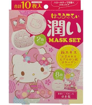 日本馬油相關商品 - LOOKS櫻花潤澤面膜-Hello Kitty限定版-10枚入