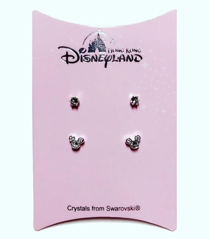HongKong buyer - 香港迪士尼 Disney- Mickey 米奇閃耀施華洛世奇水晶耳環組-銀色-2對