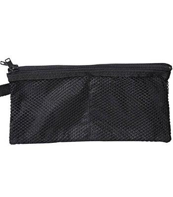 MUJI - 翔傘布雙拉鍊袋/長型黑-1入