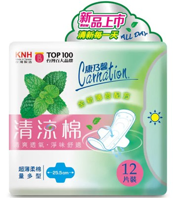 Carnation - 清涼棉衛生棉- 25.5cm量多型-12片