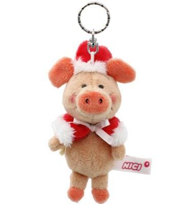 eslite - NICI聖誕小豬威比鑰匙圈-10X8X8CM