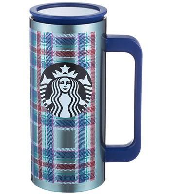 Starbucks Corporation - 12OZ藍格紋把手不鏽鋼杯-1入