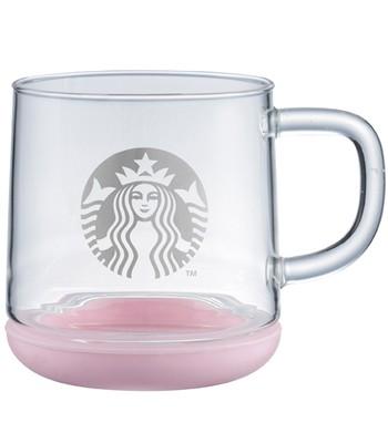 Starbucks Corporation - 360ML粉紅矽膠把手玻璃杯-1入