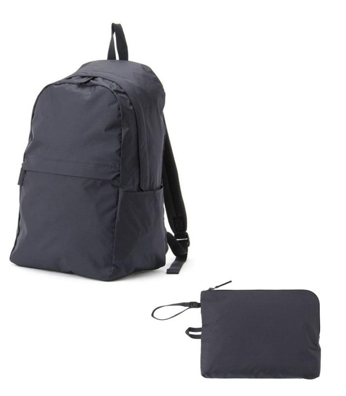 MUJI - 滑翔傘布附收納袋後背包深藍-深藍-1入 / 31×44×17 cm