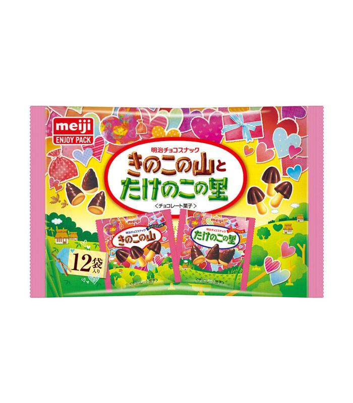 Meiji 明治 - 香菇竹筍造型餅乾 巧克力口味袋裝 愛心版  - 12入