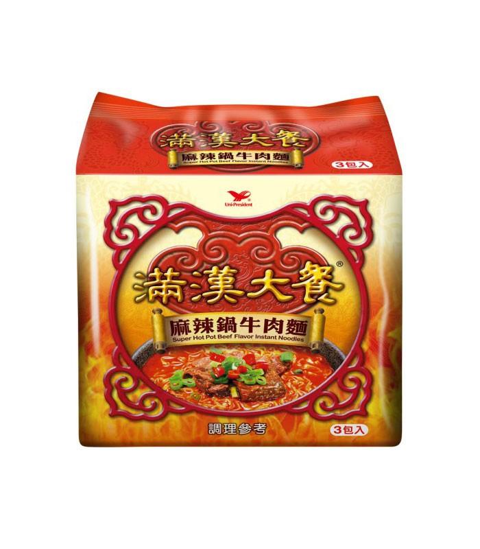 湯 / 乾拌麵 - 滿漢大餐 麻辣鍋牛肉麵  - 3包/袋