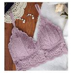 sexy in shape - Dazzling花花世界 無鋼圈蕾絲內衣(可拆式襯墊)-薰衣草紫