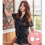 Qmomo - 盈柔滑襯衫式短褲 成套睡衣(黑)