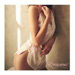 Qmomo - 極深V法式蕾絲兩件式緞面睡衣(粉白)