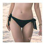 Qmomo - 簡約低腰彈性寬綁帶三角泳褲(黑)