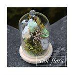 MYHUO LifeStyle - ann flora 木底玻璃鐘罩永生花組合-1入